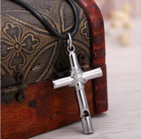Silver Whistle criativo Corda Wire Cross Necklaces Oração Christ Jóias Stainless Steel Homens Mulheres Black Rope Chain cross faith Necklace