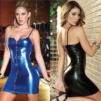 Wholesale Dress Min - 2017 New Summer Black Mesh Sleeveless Min Short Clubwear Dresses Sexy Hot Night Vinyl Leather Sheath Bodycon Party Vestido M~5XL