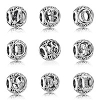 Wholesale Heart Alphabet Bead - A-Z Authentic 925 Sterling Silver Bead Charm Openwork Alphabet 26 Letter With Crystal Beads Fit Women Pandora Bracelet Bangle HK3610