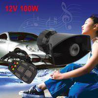 Wholesale Car Loudspeaker Horn - Motorcycle Car Loud Speaker Electronic Warning Siren Horn Alarm Firemen Ambulance Loudspeaker 7 Sound with MIC Microphone MOT_517