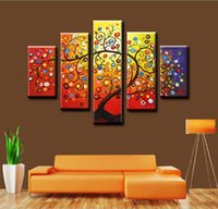 Wholesale Large Decorative Art Frame - Framed 5 Panel Large Hand-painted Modern Decorative Canvas Oil Painting Home Living Room Decor Picture Wall Art Colorful Magic Tree AMP8