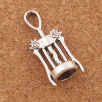 Wholesale Christmas Wine Opener - Wine Corkscrew Opener Charms 100pcs lot 27.3x11.3mm Antique Silver Pendants Jewelry DIY L285 Fit Necklace Bracelets