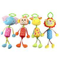 Wholesale cute stuffed animals monkeys - Wholesale- soft Baby Toys stuff monkey elepant giraffe Ring Bell Cute Cartoon Animal Plush creative Doll Early Educational gift