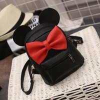 Wholesale Ear Locks - Mickey Backpack 2017 New Baby girls kids backpack Cartoon cute butterfly knot Minnie backpack princess Bow ears black pink gray