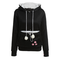Wholesale Dog Pouches - Wholesale- Cat Lovers Hoodies With Cuddle Pouch Dog Pet Hoodies For Casual Kangaroo Pullovers With Ears Sweatshirt XL Drop Shipping
