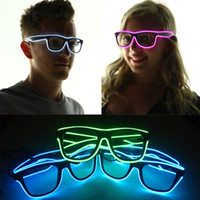 Wholesale neon shaped light for sale - Group buy Music Sound Activated el glasses El Wire Fashion Neon LED Light Up Shutter Shaped SunGlasses Rave Costume Party