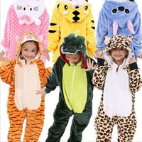 Wholesale Conjoined Cartoon Pajamas - (50 piece)Flannel children's cartoon conjoined pajamas animal dinosaurs autumn and winter boys and girls children Tongbao thick home clothes