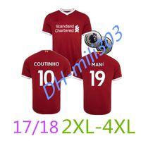 Wholesale Custom Size Soccer Jerseys - Top Thai quality 17 18 liver M.SALAH soccer jerseys big size 2XL 3XL 4XL custom name number GERRARD COUTINHO 10 football shirts+ patch EPL
