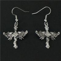 Wholesale Skull Earrings Wings - Cool Women 316L Stainless Steel Biker Jewelry Ladies Wings Biker Skull Earrings Crystal Stones Beautiful Biker Stud
