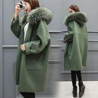 Wholesale Cotton Loose Skirts - 2017 Winter Long Loose Fashion Fox Fur collar Women Pure Color Warm white Woolen Coat Wool Coat Cashmere Coats