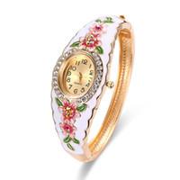 Wholesale Elegant Bangle Watch - Elegant Diamond Watch Enamel Pattern Flower Design Pave Swarovski Stone Luxury Ladies Watches 58*48mm Diameter Bangle Watches For Women
