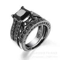 Wholesale vintage pave - Vintage Lovers Black Diamonique Gold Plated Wedding Finger Ring set Sz 6-10 Gift