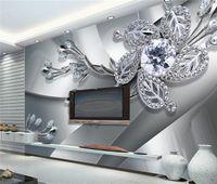flor de arte mural al por mayor-Custom Any Size 3D Wall Mural Wallpaper Diamante Flor Patrones de fondo Arte Moderno Gran Pintura de Pared Sala de estar Decoración Para El Hogar