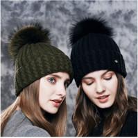 Wholesale Types Beanies Hats - LUCKYFUR Natural Raccoon Fur Pom Poms Hat Female Warm Wool Women's Cap Twist-type Knitted Girl Winter Hats 2017 skullies Beanies