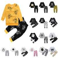 Wholesale Baby Kids Clothes Designer Red - 16 Designer Baby Clothes Sets Long Sleeve T Shirt Ins Cotton Baby Kids Clothing#20161129-2 Drop Shipping