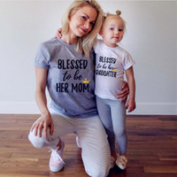 Wholesale mother daughter white matching clothes resale online - INS New Fashion Mother and Daughter Clothes Family Tshirt Mommy Mom Matching T Shirt Fashion Letter Print Summer White T shirt free ship