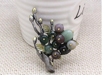 Wholesale Agate Pin - Natural agate brooches branches corsage pins scarves buckle for womens two colors can choose
