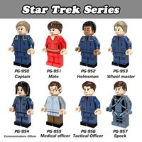 Wholesale Figure Star Trek - DHL 120pcs Mix Lot Star Trek Series Minifig Enterprise Captain Helmsman Spock Medical officer POGO PG8054 Mini Building Blocks Figures