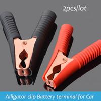 Wholesale Clip Battery Terminals - 2pcs Large Alligator clip battery clamp terminal for car Auto Connectors 0.6mm thick 100A connectors