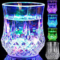 Wholesale Wholesale Gaiwan - new LED lens mug coffee mugs gaiwan cup Glass Bar Party wine glasses LED light Acrylic water induction Pineapple Cup 50