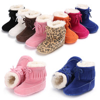 Wholesale snow leopard baby for sale - Group buy Kids winter Shoes infant Bow snow Boots cotton Girls boys Fashion Leopard tassel Boots Baby First Walkers C2575
