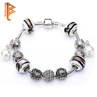 Wholesale Murano Pearls - BELAWANG European Murano Glass Beads Bracelets With Simulated Pearl Pendant Bracelet For Women Valentines Gift Cuff Bracelets Free Shipping