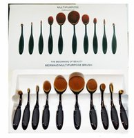 Pennelli da trucco Set Oval Blending Brush Multiuso Mermaid Spazzolino da denti Foundation Powder # 1 # 2 Face Brushes Pro Strumenti di trucco 10 set PCS