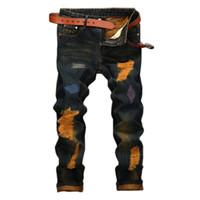 süngerimsi kot pantolon toptan satış-Toptan-2017 Sıcak Satış Vintage Stil Erkekler Için Baggy Yırtık Kot Ince Düz Tasarımcı Denim Jeans Biker Erkek Serin Giyim Toptan