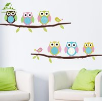 Wholesale Wall Stickers Girl Owl - Wholesale- Animal cartoon owl tree vinyl wall stickers for kids rooms boys girl home decor sofa living wall decals child sticker wallpaper
