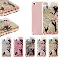 Wholesale hard back case packaging online - Flower Dress Girl Cat Feed Bird Glitter Quicksand Liquid Phone Back Case with TPU Hard Side for Iphone s plus Plus OPP Package