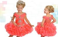 Wholesale Mini Shining Dress - 2017 Shining Crystal Beaded Pageant Dresses V-Neck Sleeveless Ritzee Girls Ball Gowns Mini Short Flower Girl Dress For Wedding
