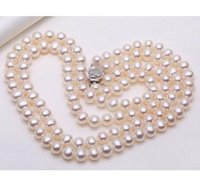 Wholesale South Sea Pearls Strands Round - Gorgeous Double Strands 9-10mm South Sea Round White Pearl Necklace 18 Inch 19 Inch 925 Silver Clasp