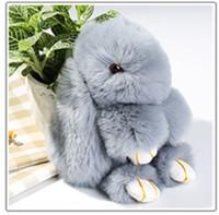 Wholesale Toy Car Backpack - 18cm Pom Pom Mini Car Rex Play Dead Rabbit Key chain 19 Colors Fur Car Backpack Rabbit Doll Pendant Fashion Toys Wallet Handbag Bag Pendant