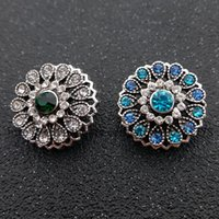 Wholesale Early Crystals - Rhinestone stone shoot button crystal flower button jewelry for 18 mm   20 mm early bracelet jewelry DIY ginger snaps
