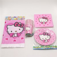 Wholesale 33pc \ lot Kids Favors Paper Plates Cups Desechables Hello Kitty TableCover Decoración de la fiesta de cumpleaños Servilletas Baby Shower Supplies