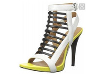 Wholesale Yellow Tie Backs - WHITE yellow leather high heels summer fashion women sandlas cheap sale