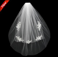Wholesale Ivory Bridal Hats - 2018 Short Wedding Bride Veil Custom Made Lace White Ivory Two Layers Tulle Comb Vail Accessories Hat Veil Bridal Veils Appliqued