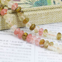 Wholesale Watermelon Faceted Beads - 5*8mm Multicolor Watermelon Tourmaline Abacus Beads Ornaments Crafts Loose Beads Jasper Jade Stone Faceted Gems Jewelry Making