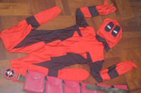 Wholesale Zentai Children - 2017 Child Newest Deadpool Spandex Superhero Costume Fullbody Halloween Deadpool Costume with waist belt Hot Sale zentai suit