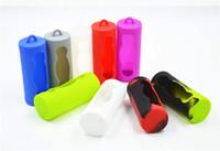 soporte li ion al por mayor-26650 Caja de silicona protectora para la caja fuerte de la batería Caja de soporte de gel de silicona suave Protector de piel de goma para E Cig 26650 li-ion Baterías Vape Mod