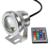 luces subacuaticas para piscinas al por mayor-10W 12V RGB Proyector subacuático de luz LED CE / RoHS IP68 950lm 16 colores que cambian con control remoto para fuente Decoración de piscina 1PCS