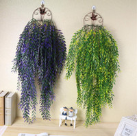 Wholesale Artificial Willow Vines - 2pcs Hanging Artificial Bamboo willow Leaves Wall Ivy Garland Vine Greenery For Wedding Home Office Bar Decorative