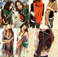 Wholesale Cashmere Scarves Match - Wholesale fashion women All-match Solid color Thickening and warming scarf Cashmere tassel Scarves for women Free shipping