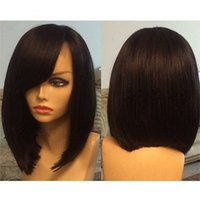 Wholesale transparent shorts women - Short Bob Lace Front Human Hair Wigs with side bangs Peruvian Human Hair Full Lace Wigs natural Straight For Black Women