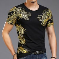 Wholesale Chinese Blouse Fashion - Chinese Summer Wind Current Male Short Sleeved Tshirt Short Sleeve Blouse Shuanglong Printing Street Fashion Man Tshirt