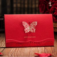 Wholesale Red Wedding Invites - Wholesale-12pcs lot 2D Laser-Cut Red Butterfly Wedding Invitations Card Customized & Printing Golden Foil Invites Invitation Cards JJ632