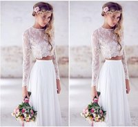 Wholesale Cheap Wedding Dresses Fast Shipping - 2017 Cheap Jewel Two Pieces Lace Beach Wedding Dresses Long Sleeves Chiffon Floor Length Custom Made Boho Wedding Gowns Fast Shipping