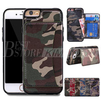 Wholesale Iphone Camo - Army Camo Wallet Case Fashion Luxury Multifunction Camouflage PU & TPU Card Solt Stand Cover For iPhone 6 7 Plus Galaxy S6 S7 Edge