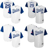 Wholesale Italy Customs - Mens S-5XL 2017 World Baseball Classic Italy Custom Jersey 29 Francisco Cervelli 100% Stitched Embroidery Logos Jerseys Mix Order