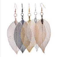 Wholesale Big Unique Earrings - 2017 Fashion Bohemain Long Earrings Unique Natural Real Leaf Big Earrings For Women Fine Jewelry Gift G105